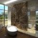 granitowa ściana w łazience